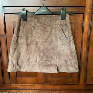 Real brown leather mini skirt